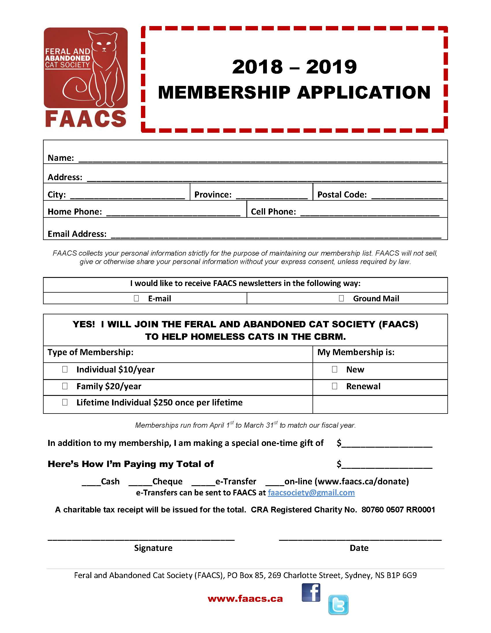 FAACS Annual Membership Form